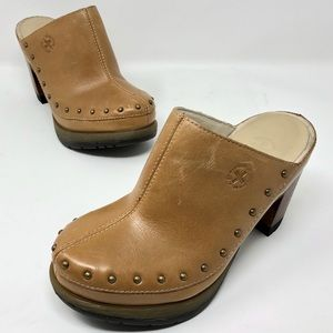Dr Martens Una Brown/Beige Leather Block Heel Mule